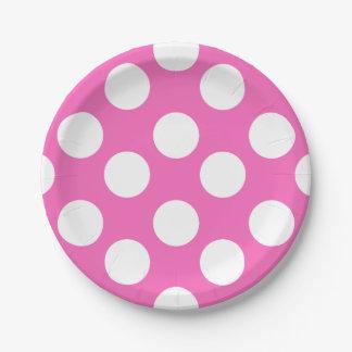 ピンクおよび白い水玉模様の紙皿 ペーパープレート