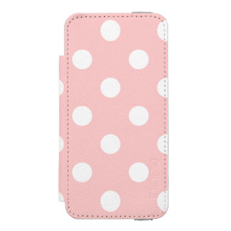 ピンクおよび白い水玉模様パターン INCIPIO WATSON™ iPhone 5 財布 ケース