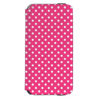 ピンクおよび白い水玉模様パターン INCIPIO WATSON™ iPhone 6 ウォレットケース