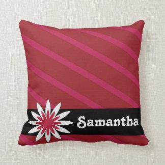 ピンクおよび白い花のモノグラムの枕 クッション