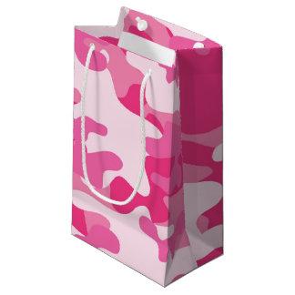 ピンクおよび白い迷彩柄のデザイン スモールペーパーバッグ