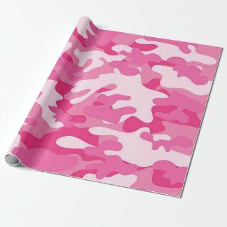 ピンクおよび白い迷彩柄のデザイン ラッピングペーパー