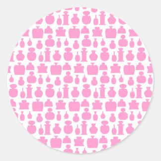 ピンクおよび白い香水瓶パターン ラウンドシール