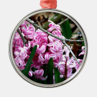 ピンクおよび白いHyacinthの花 メタルオーナメント
