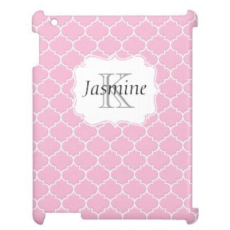 ピンクおよび白くカスタムなモロッコのモノグラムのiPadの箱 iPadカバー
