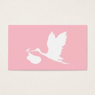 ピンクおよび白く飛んでいるなこうのとり 名刺