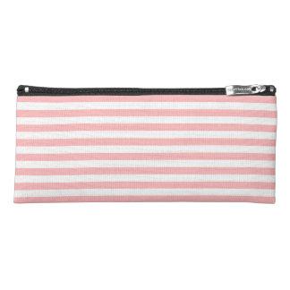 ピンクおよび白のストライプなパターン ペンシルケース