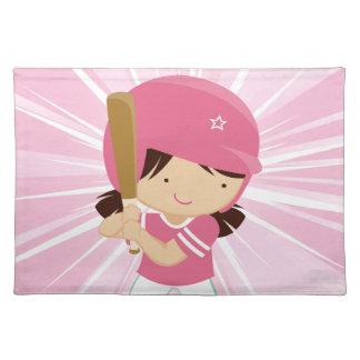 ピンクおよび白のソフトボールの女の子のねり粉 ランチョンマット