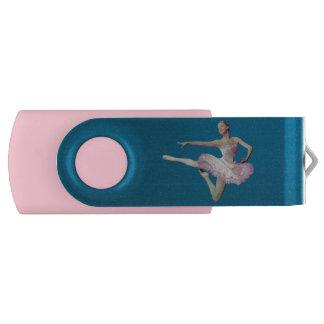 ピンクおよび白のバレリーナの跳躍 USBフラッシュドライブ