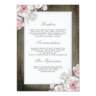 ピンクおよび白人の花の結婚式情報ゲスト カード
