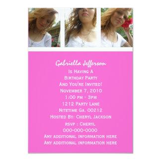 ピンクおよび白: 写真のパーティの招待状 カード
