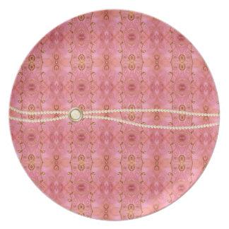 ピンクおよび真珠のエレガントなプレート プレート