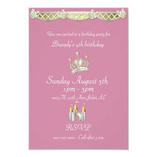 ピンクおよび真珠の誕生日の小さいプリンセス 8.9 X 12.7 インビテーションカード