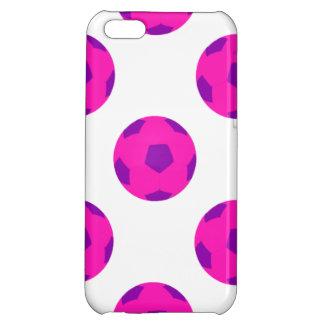ピンクおよび紫色のサッカーボールパターン iPhone 5C CASE