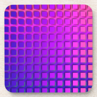 ピンクおよび紫色のファンキーな正方形パターン コースター