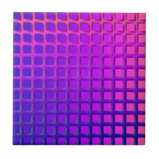 ピンクおよび紫色のファンキーな正方形パターン タイル