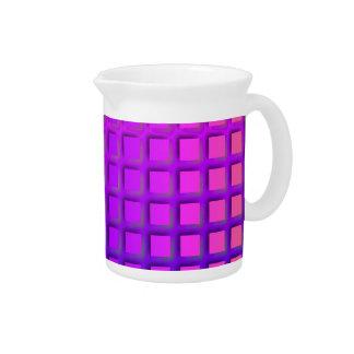 ピンクおよび紫色のファンキーな正方形パターン ピッチャー