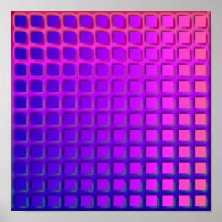 ピンクおよび紫色のファンキーな正方形パターン ポスター