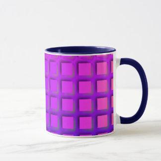 ピンクおよび紫色のファンキーな正方形パターン マグカップ