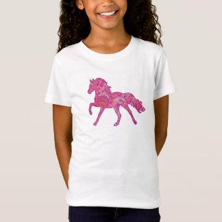 ピンクおよび紫色のペイズリーの連続した馬のワイシャツ Tシャツ