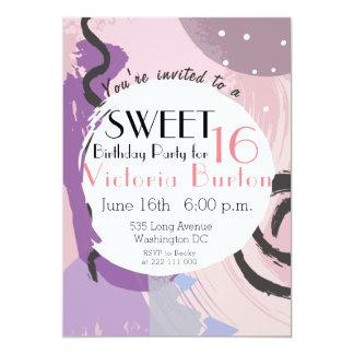 ピンクおよび紫色のモダンの抽象芸術の落書きの菓子16 カード