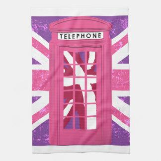 ピンクおよび紫色のヴィンテージの英国の公衆電話ボックス ハンドタオル