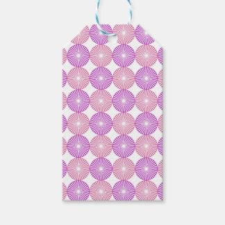 ピンクおよび紫色の円パターン ギフトタグ