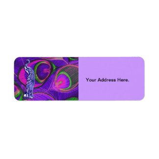 ピンクおよび紫色の孔雀 ラベル