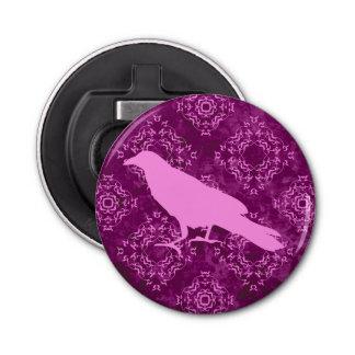 ピンクおよび紫色の幾何学的なダマスク織のピンクのワタリガラス 栓抜き