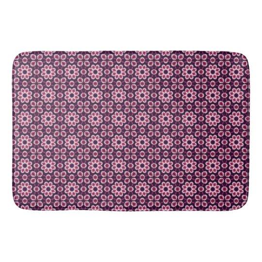 ピンクおよび紫色の抽象的な花模様 バスマット