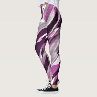 ピンクおよび紫色の斜めのスラッシュ レギンス