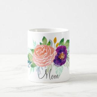 ピンクおよび紫色の水彩画の花柄 コーヒーマグカップ