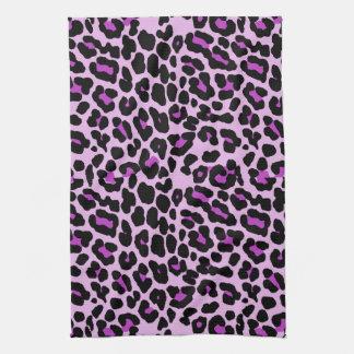 ピンクおよび紫色の流行のヒョウのプリント キッチンタオル