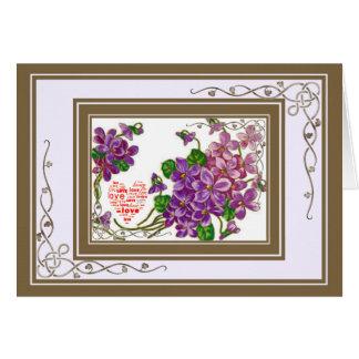 ピンクおよび紫色の花 カード