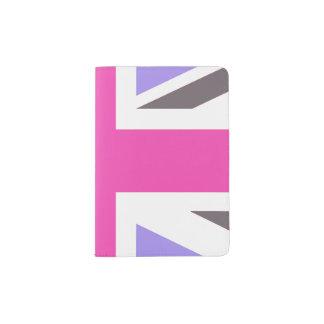 ピンクおよび紫色の英国国旗のイギリスのイギリスの旗旅行 パスポートカバー