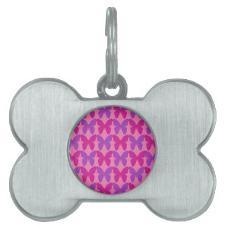 ピンクおよび紫色の蝶パターン ペットネームタグ
