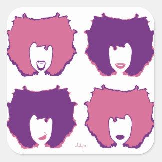 ピンクおよび紫色の4つの気分 スクエアシール