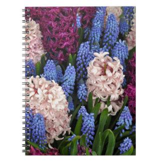 ピンクおよび紫色のhyacinthの花 ノートブック