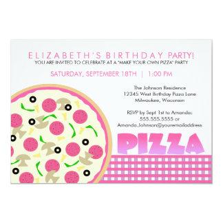 ピンクおよび紫色ピザパーティの招待状 カード