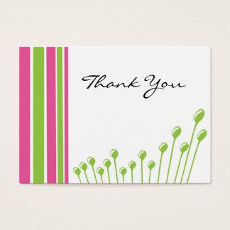 ピンクおよび緑ありがとう 名刺