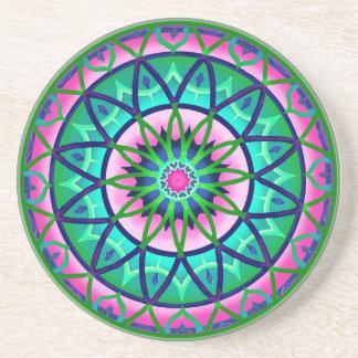ピンクおよび緑のコースターの円のファンタジー コースター