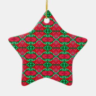 ピンクおよび緑のスイカの六角形パターン セラミックオーナメント