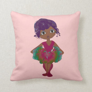 ピンクおよび緑のチュチュの芸術の枕のかわいいバレリーナ クッション