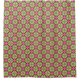 ピンクおよび緑のパターン(の模様が)あるなシャワー・カーテン シャワーカーテン