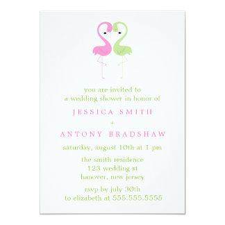 ピンクおよび緑のフラミンゴのカップルのウェディングシャワー カード