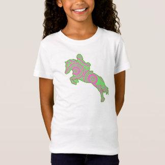 ピンクおよび緑のペイズリーの跳躍の子馬のワイシャツ Tシャツ