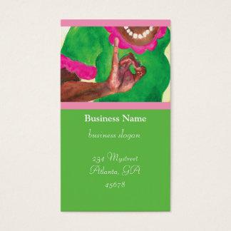 ピンクおよび緑の女子学生クラブカード 名刺