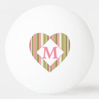 ピンクおよび緑の春のストライプのモノグラムのなハート 卓球ボール
