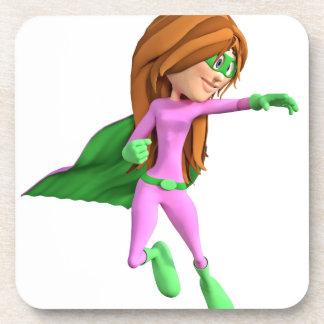 ピンクおよび緑の極度の漫画の女の子 コースター