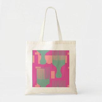 ピンクおよび緑の毛の櫛のアフリカの一突き トートバッグ